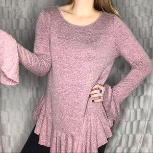 Easel Boho Pink Purple Ruffle Hem Long Sleeve Top